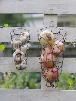 Onions, Garlic, Wire, Wire Baskets, Country, Rustic