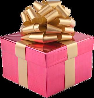 Present, Gift Box, Gold Ribbon, Christmas