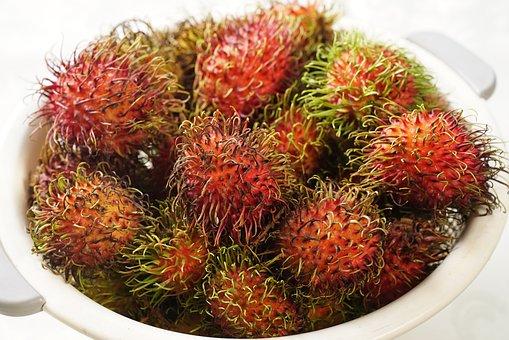 Rambutan Fruits, Hairy Fruit, South East Asian, Ripe