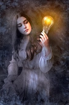 Fantasy, Book Cover, Woman, Light Bulb, Light, Mystical