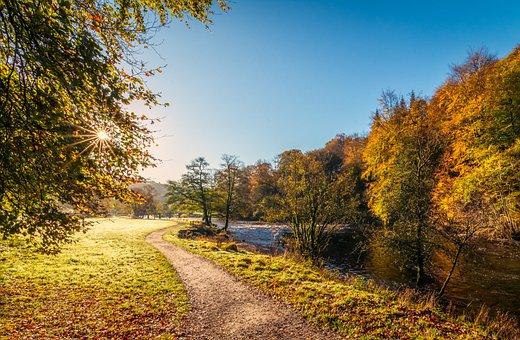 River Wharfe, Yorkshire, Autumn Sunshine