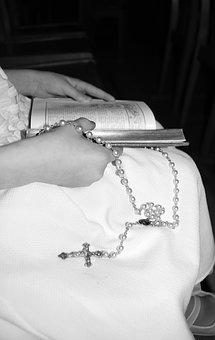 Catholic Cross, White Dress, Rosary, Missal