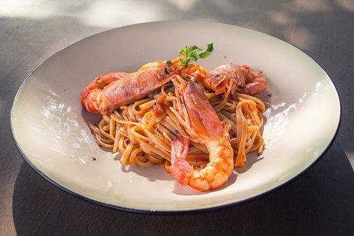 Pasta, Shrimp, Prawns, Food, Tasty, Delicious, Red
