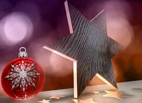 Christmas, Rendering, Wood Star, Star, Background