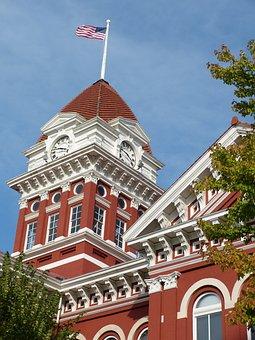 Indiana Courthouse, Flag, Sky, Usa, Architecture