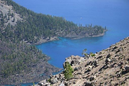 Crater Lake, Oregon, Summer, Water, Mountain, Blue