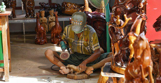 Wood, Carving, Myanmar, Burma, Craft, Traditional