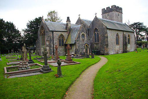 Church, Graveyard, Old, Religion, Sky, Cross