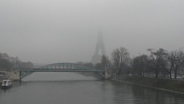 Paris, Eiffel Tower, Fog, La Seine, France, French