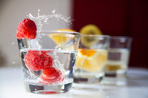 Beverages, Juices, Glasses, Raspberries, Oranges, Water