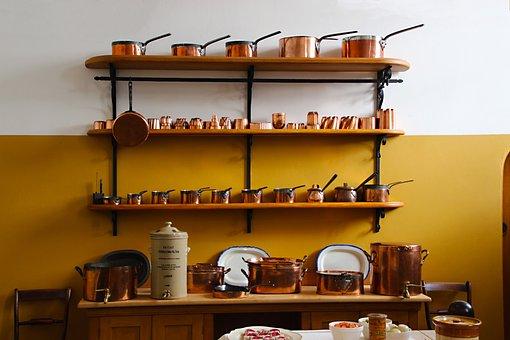 Saucepans, Copper, Kitchen, Food, Kitchenware, Cook
