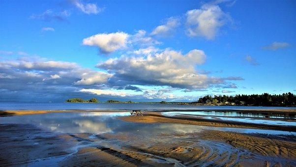 Beach, Sea, Lake, Vänern, Himmel, Mirror Image
