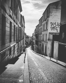 Paris, Street, Perspective, Montmartre, Black, White