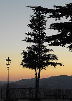 Tree, Light, Sunset, Mountains, Clear