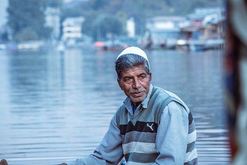 Man, Old Man, Shikara, Kashmir, Dal Lake, Shikara Ride