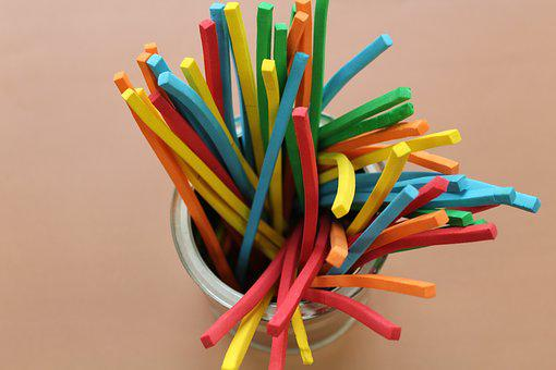 Sticks, Colorful, Children, Fun, Creativity, Science