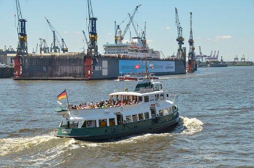 Hamburg, Port, Tug, Elbe, Hanseatic City, Ship, Water