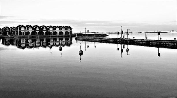 Sunnanå Harbour, Port, Boathouses, Sea, Sweden, Nature