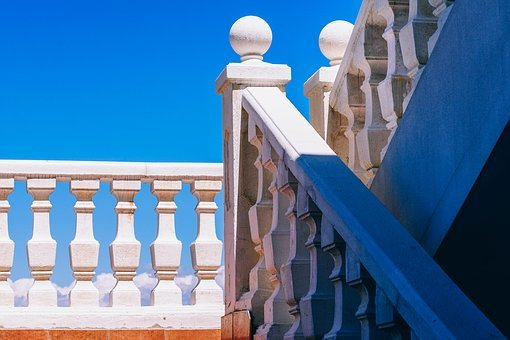 Architecture, Art, Banister, Blue, Building, Center
