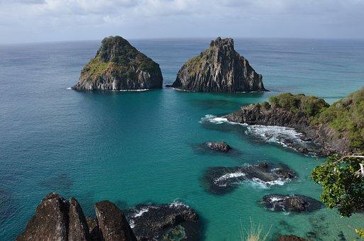 Noronha, Sea, Green, Rocks, Beach, Nature, Water, Blue