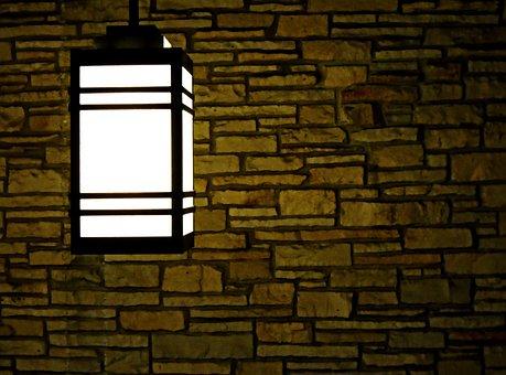 Light, Lamp, Glow, Illuminated, Wall, Brick, Brickwork