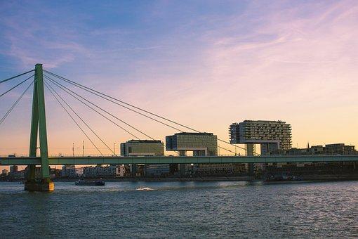 Cologne, Crane Homes, Rhine, Bridge, Sunset, Kranhaus