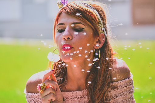 Blowing, Dandelion, Beautiful, Portrait, Girl, Woman