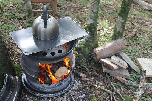 Stove, Firewood, Pinion, Fire, Kettle, Farm, Morning