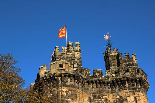 Lancaster, Castle, Sky, Blue, Fortress, Flag