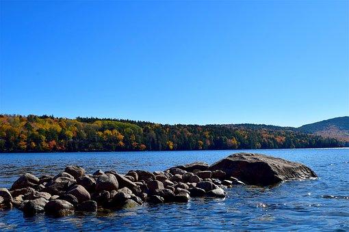 Lake, Rocks, Foliage, Mountain, Reflection, Nature