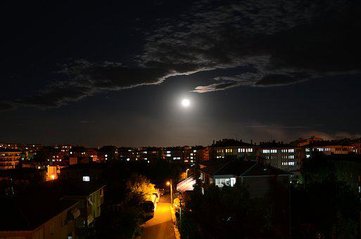 Night, Month, Cloudy Night, Landscape, Sky, Dark, Peace