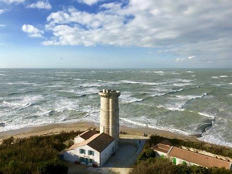 Lighthouse, Sea, Sky, Nautical, Tourism, Wave, Ocean