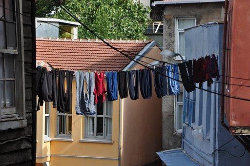Balat, Rope Washing, Travel, Istanbul, On, Turkey
