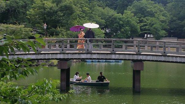 Landscape, Japan, Osaka, Nara, Bridge, Lake, Barca