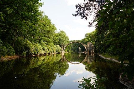 Rakotzbrücke, Bridge, Mirroring, Pond, Kromlauer Park