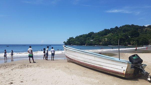 Beach, Boat, Blue, Sand, Tropical, Caribbean, Tourist