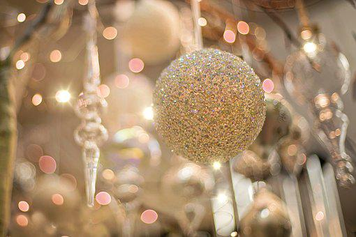 Christmas Ornament, Sparkly, Gold, Silver, Christmas