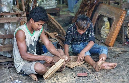 Boys, Wood, Carving, Temple, Souvenirs, Yangon, Myanmar