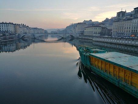 Lyon, France, Boat, Bridge, Sunset, Water, Channel
