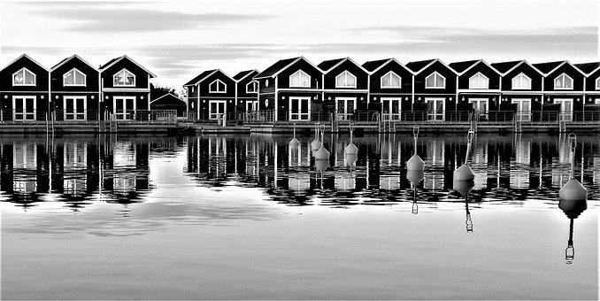 Boathouses, Lake, Port, Marina, Vänern, Water, Sunset