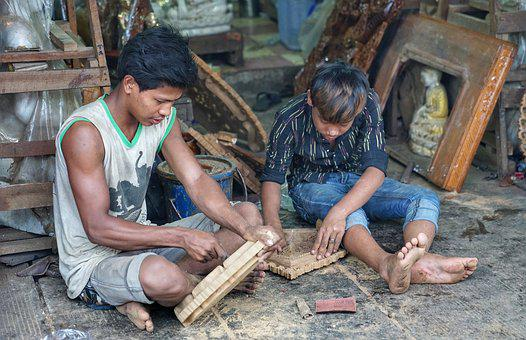 Boys, Wood, Carving, Temple, Souvenirs, Yangon, Myanmar