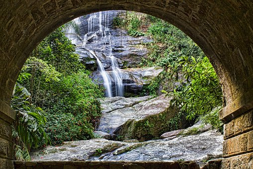 Waterfall, Tunnel, Nature, Landscape, Forest, Travel