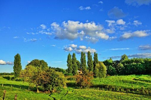Landscape, Countryside, Fields, Trees, Farmhouse