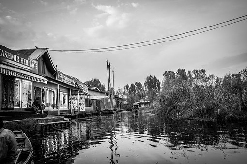 Scene, Water, Dal Lake, Wallpaper, Black And White