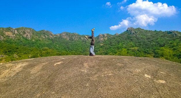 Yoga, Nature, People, Pose, Landscape, Sky, Blue