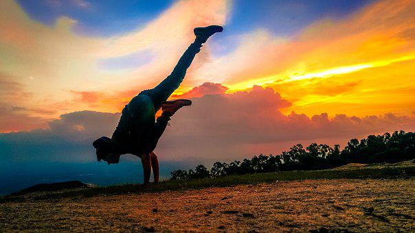 Silhouette, Sunset, Yoga, Sky, Horizon, Clouds