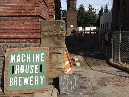 Brick, Brewery, Tap Room, Brick Building, Alley, Sign