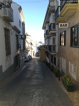 Bar, Alley, Street, Dark Alley, Torrox, Spain, Spanish