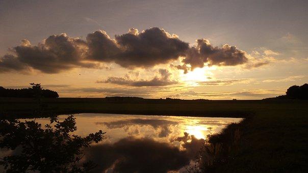Sunset, Clouds, Pond, Abendstimmung, Evening Sky, Sky