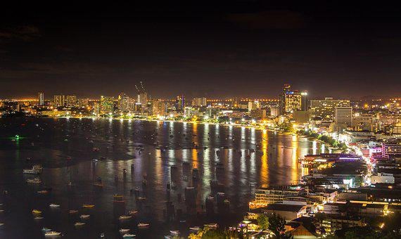 Pattaya, Night, Beach, City, Light, Travel, Cityscape